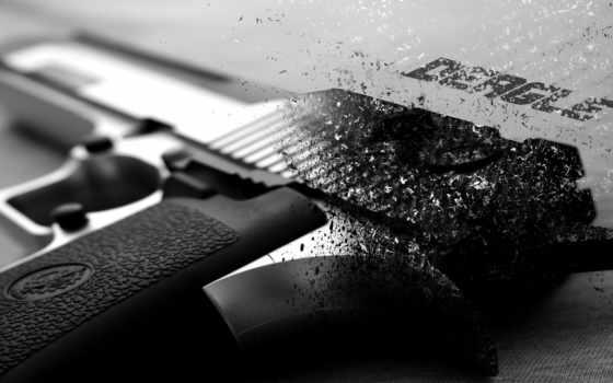 оружие, пистолет, deagle, чёрно-белый