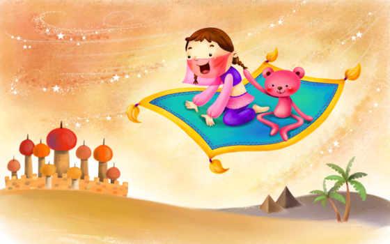 нарисованные, девочка, медвежонок, восток, ковёр-самолёт, пирамиды, пальмы, дворец, звездочки