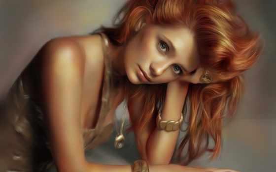 рыжие, волосы, девушка, взгляд, лицо, art, barton, mischa,