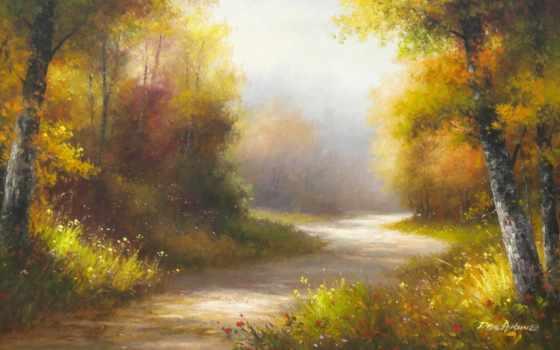 природа, картины, рисунки, рисунок, art, картинка, trees, осенние, осень,