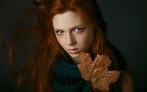 осень, девушка, portrait, веснушки, грусть, лист, увеличить,