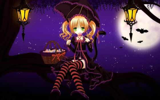 девушка, sweetie, anime, halloween, кошки, тимати, природа, тыква, candy,