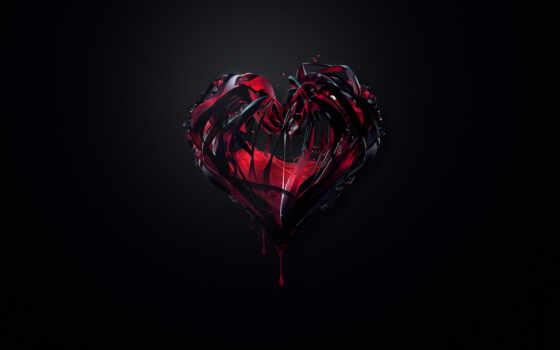 сердце, минимализм, обои, фон, краска, черный, кра