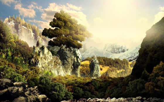 landscape, fantasy, desktop, wallpapersus, world, скалы, fantastic,