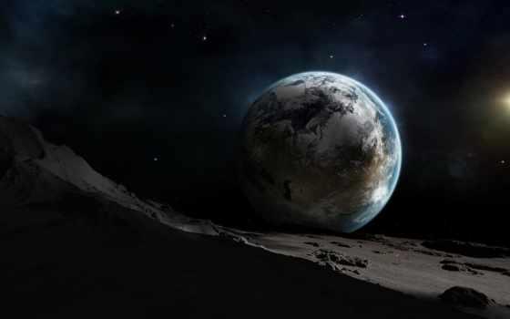 earth, луна, земли, космос, gif, луне, восход, выглядит, вид,