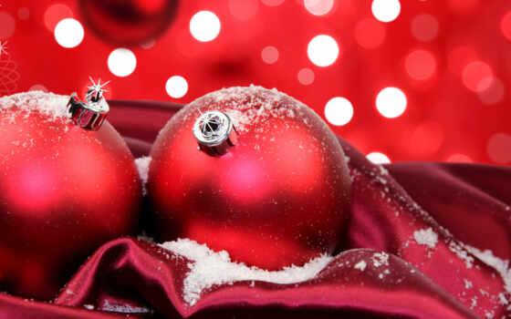 christmas, red, шарики