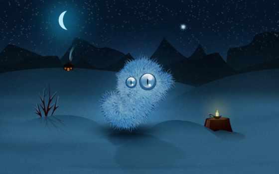 winter, desktop, ночь
