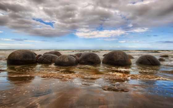пляж, new, zealand, boulder, koekoh, побережье, along, unusual, extend, spherical, большой