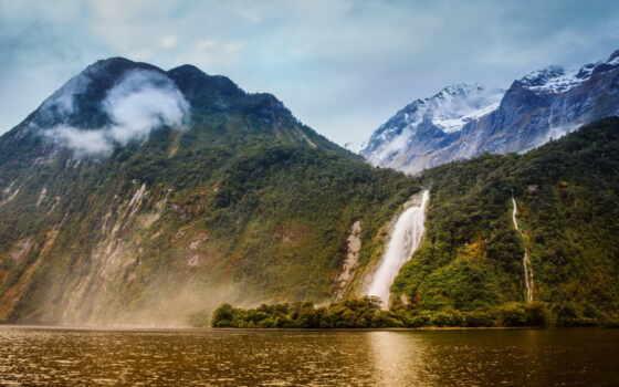 gora, новый, зеландия, bowen, more, красивый, водопад, пейзаж, lady, пасть, река