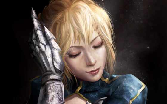 женщина, zhang, меч, thunder, art, воин, anim, saber, след, чертовка, anime