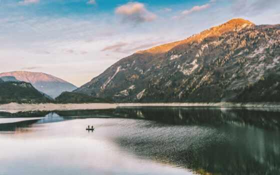 озеро, гора, природа, water, natural, cirque, freeze, permission, landscape, дерево, pretty