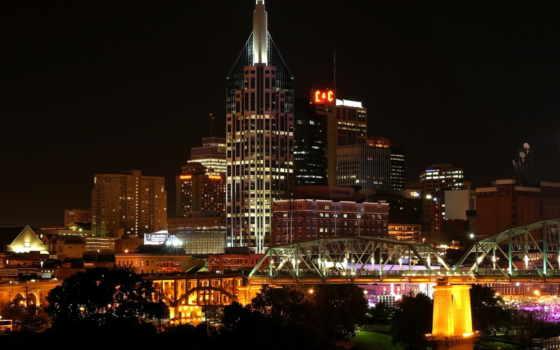 nashville, ночь, сша, usa, дома, город, cities, tenessee, огни, высотки, мост, деревья,