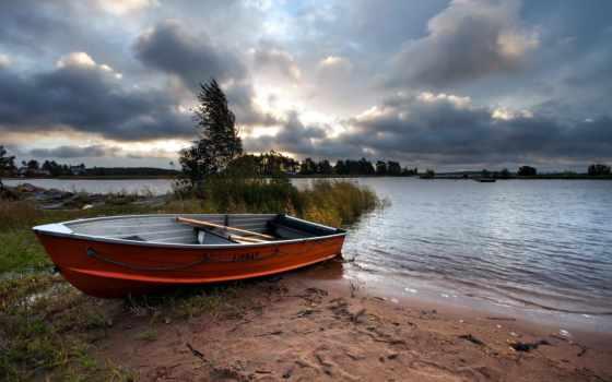 лодка, пейзаж