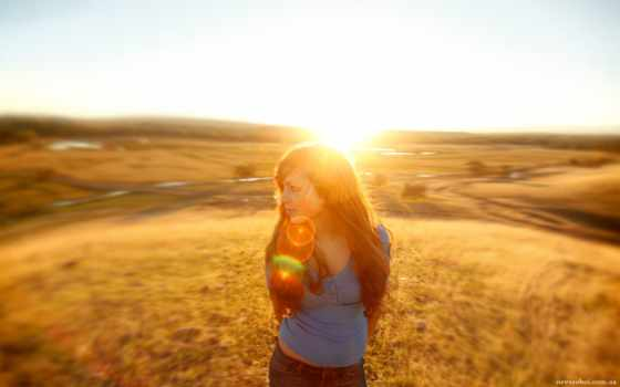 солнце, priroda, devushka, pole, vzglyad, svet, луч,