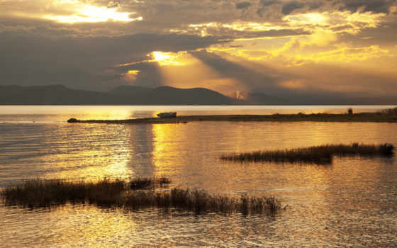 золотистый, закат, озеро