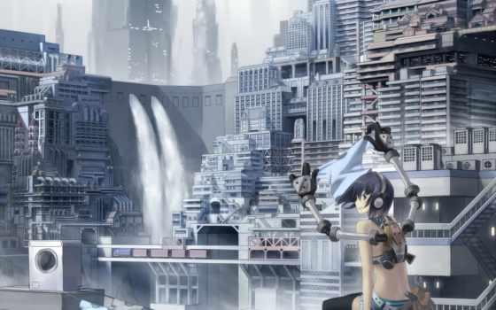 anime, наушники, город
