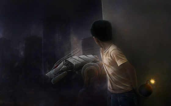 boy, рисунок, robot, бомба,