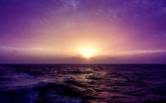 море, закат, purple