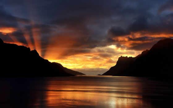 desktop, tramonto, lago, sul, mikis, bookmarks, ди, del,