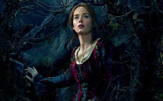 ,, леди,  дерево, лес, cg artwork, темнота, emily blunt, в лес, the baker's wife, emily, blunt