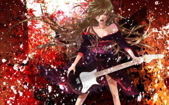 аниме, гитара, девушки