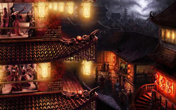 япония, дома, огни
