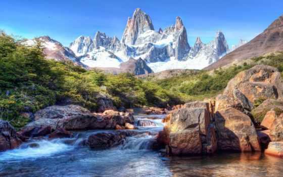 patagonia, аргентина, река, гора, место, ткани,