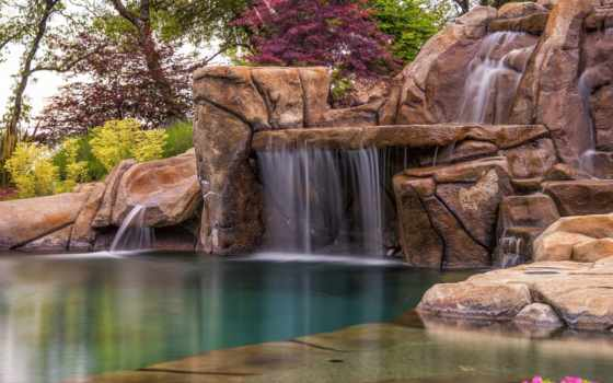 waterfalls, водопад, flowers, природа, цветы, rocks, лес, trees, summer, зелёный,