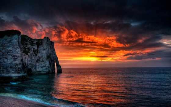 etretat, франция, этрета, french, закат, cliffs, normandie, normandy,