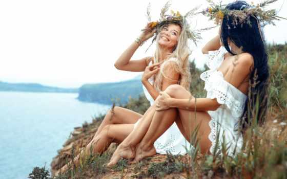 природа, summer, красивые, позирует, река, positive, красиво, pair,