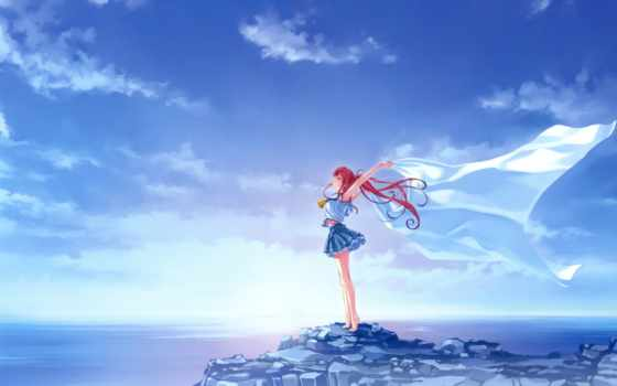 anime, девушка, море
