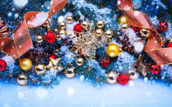 новогодние, игрушки, ветки, еловые, елочка, зеленом, год, елочные, новогодних, new,