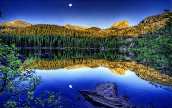 las, jezioro, góry, odbicie, страница, free, landscape, pulpit,