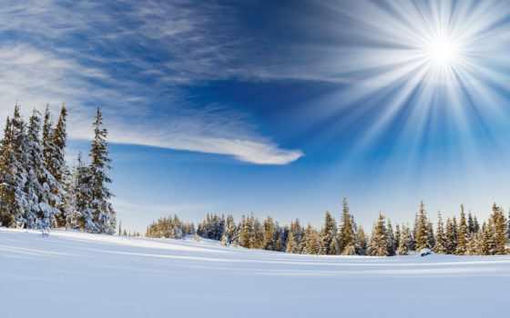winter, снег, пейзажи -, года, sun, горы, trees, fonday, елки,