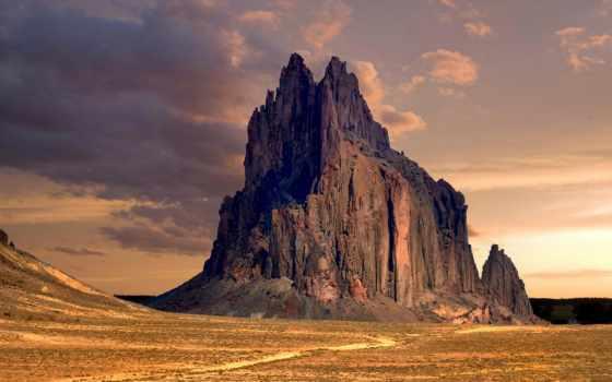 shiprock, new, mexico, rock, peak, пустыня, formation, больших, нью, сша,