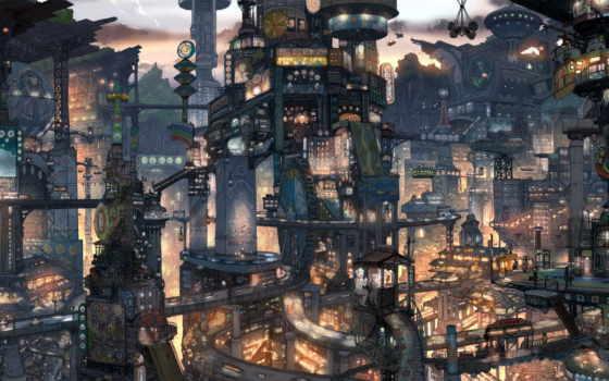 anime, город, architecture