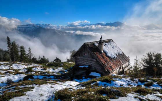 гора, снег, кабина, winter, trees, landscape,