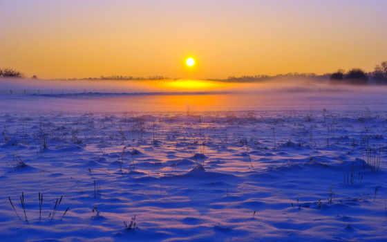 поле, winter, снег
