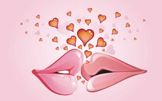 губы, love, сердечки, мужские, женские, между, поцелуи, вектор, ними, нарисованные, людей,