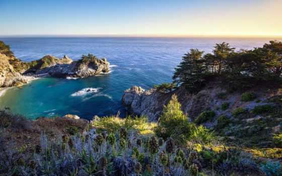 солнца, море, rising, landscape, скалы, красивый, природа, деревьями,