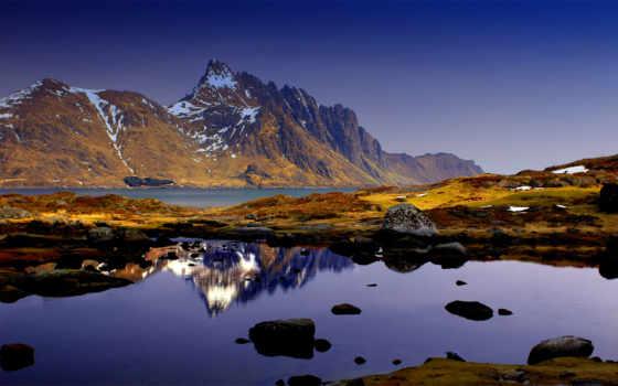 горы, природа, water, небо, отражение, камни, синее,