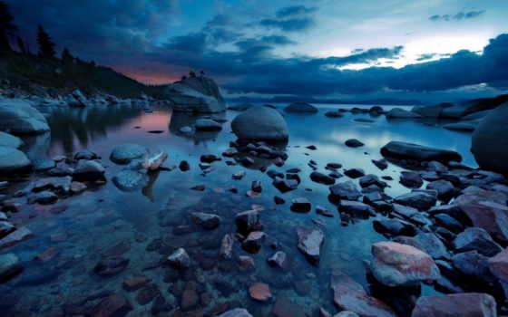 природа, ночь, озеро, landscape, камни, широкоформатные, красивая,