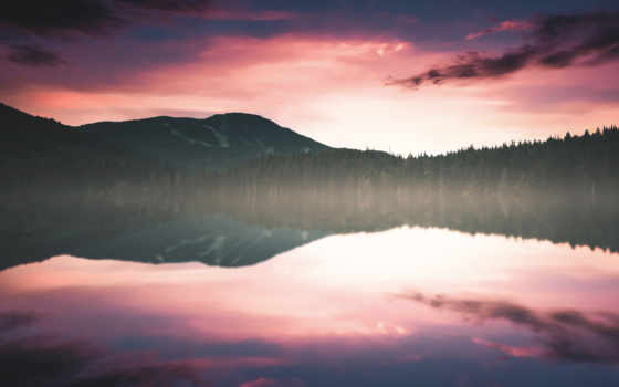 reflections, озеро, закат, природа, desktop,