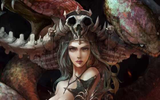 fantasy, девушка, art, snake, арта, взгляд, глаза, устройство, череп