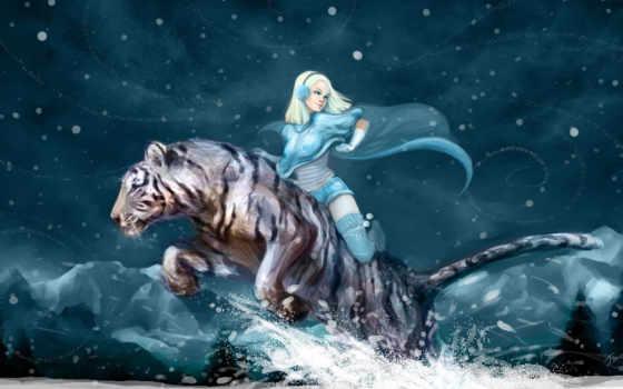 девушка и тигр