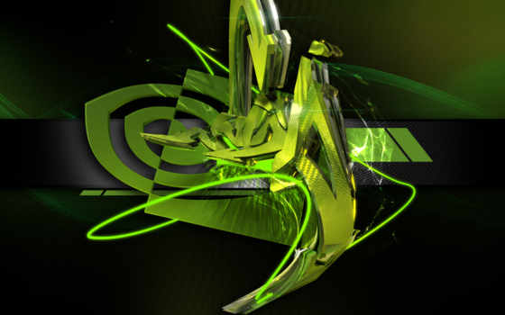 nvidia, logo, 3d, green