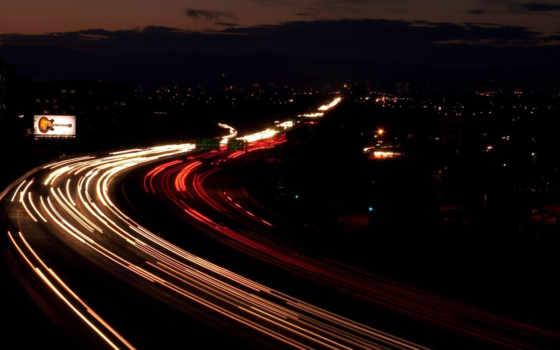 шоссе, ночь, город,