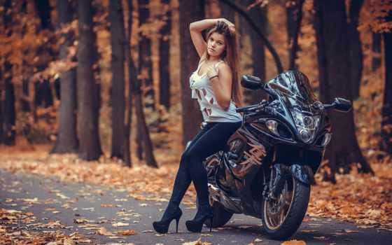 devushka, мотоцикл, suzuki