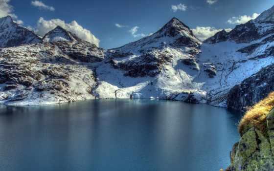 размере, обою, смотреть, горы, истинном, австрийские, альпы, mountains, озеро,