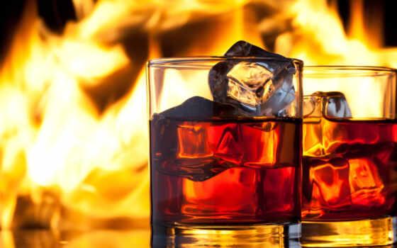 whiskey, лед, напиток, бокалы, огонь, пламя,